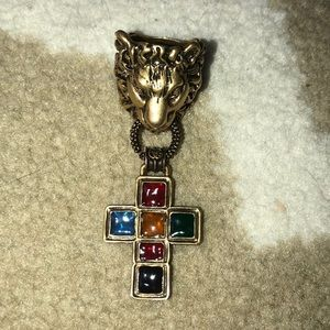 Gucci Lion Ring with Jeweled Cross